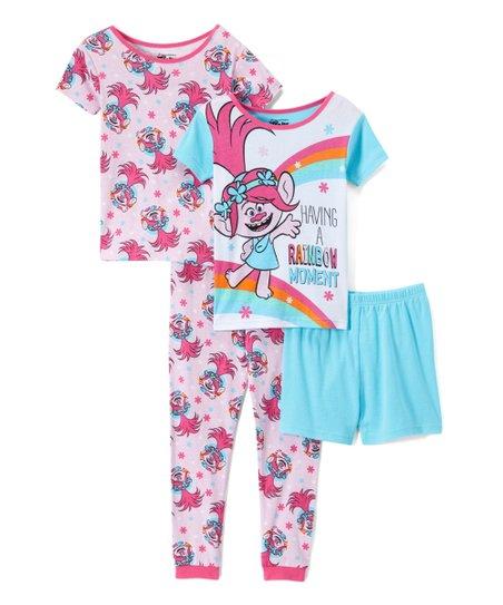 Trolls Little Girls Toddler Poppy 4-Piece Cotton Pajama Set