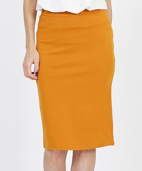 abffbd5391609b love this product Desert Mustard Ponte Pencil Skirt - Women
