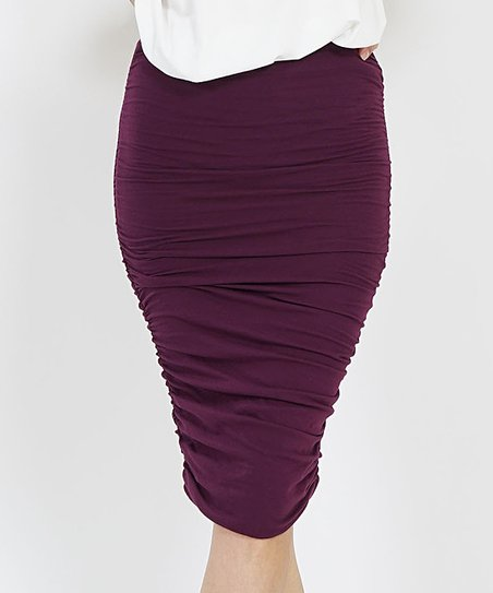 33553cac4 42POPS Dark Plum Shirred Pencil Skirt - Women | Zulily