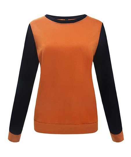 243657083c ETCYY Orange   Black Color Block Sweater - Women   Juniors
