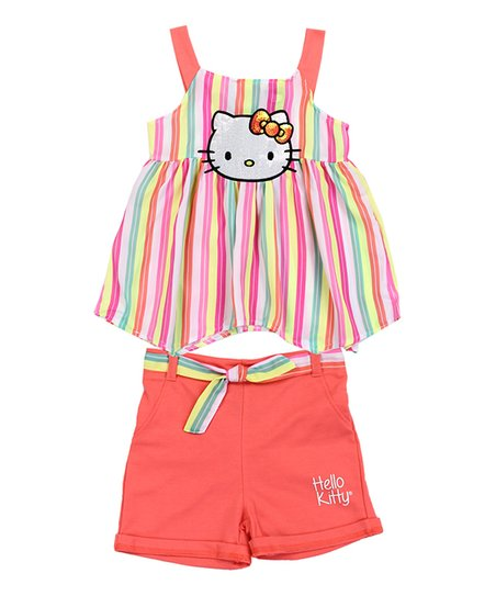 Hello Kitty Pink Coral Stripe Swing Top Shorts Girls