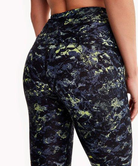 b1d21ebda45665 Lolë Galaxy & Green Abstract High-Waist Parisia Crop Leggings ...