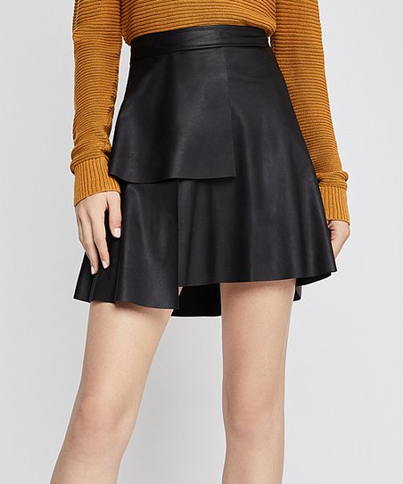 4fc5767bfb love this product Black Faux Leather Ruffle Skirt - Women