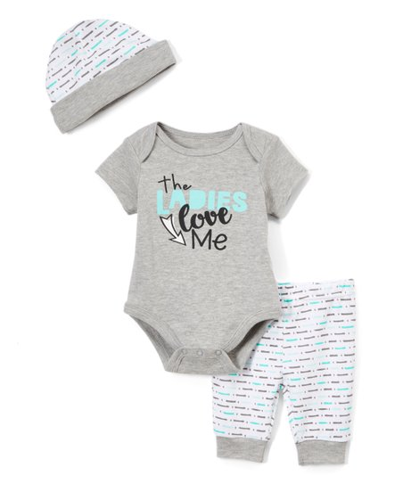 8825398c5 love this product Gray & White 'The Ladies Love Me' Bodysuit Set