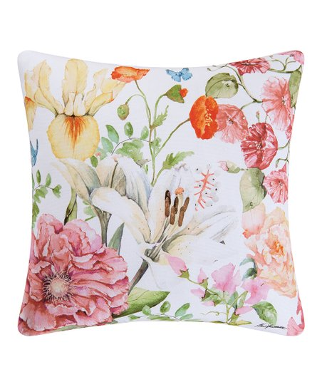 Dogwood Market White Pink Floral Indoor Outdoor Throw Pillow Zulily
