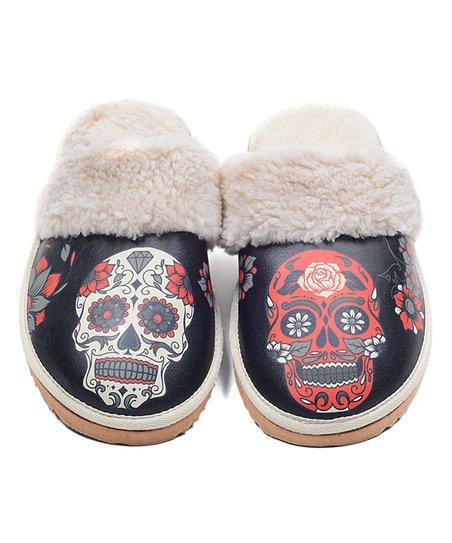 9fef050b815 Neefs Black   Red Sugar Skull Faux Fur Slipper Mule - Women