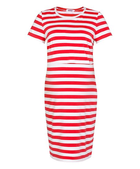 4cb3aebf42918 love this product Red & White Striped Maternity/Nursing T-Shirt Dress -  Women