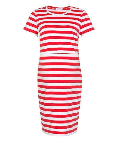 7bd50cada14ef love this product Red   White Striped Maternity Nursing T-Shirt Dress -  Women