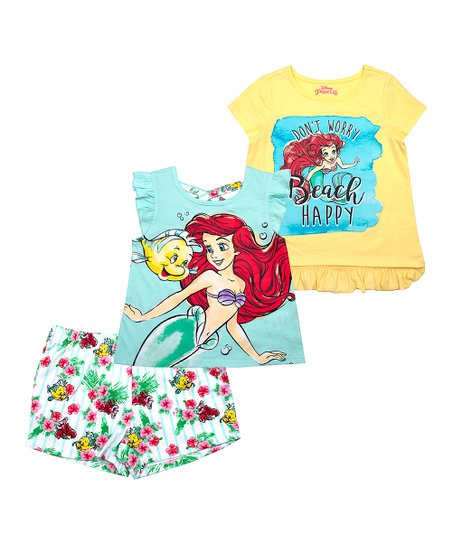 11cdd678c10f love this product Ariel Yellow & Teal 'Beach Happy' Shorts Set - Toddler &  Girls