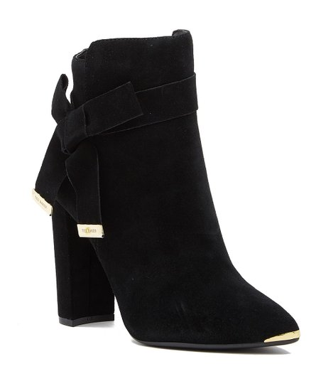 f593624e8 Ted Baker Black & Goldtone Bow-Accent Suede Ankle Boot - Women | Zulily