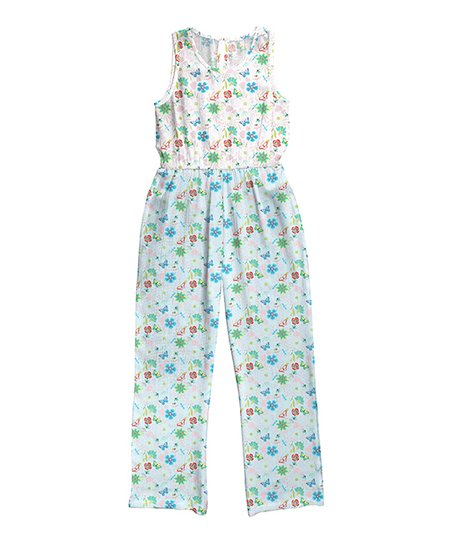 d5d4f429a3 love this product White   Light Blue Floral Sleeveless Scoop Neck Jumpsuit  - Girls