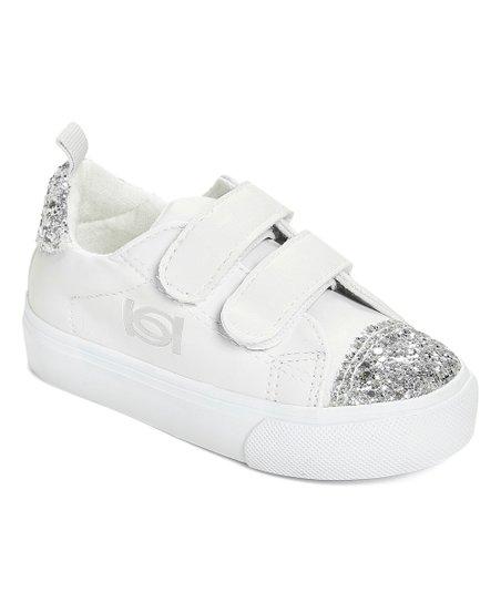 bebe girls White \u0026 Silver Glitter