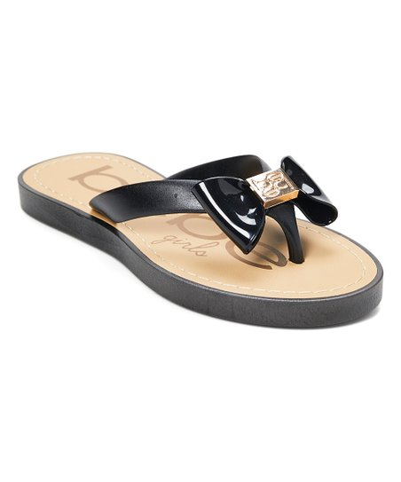0cd57b677543 love this product Black   Gold Bow Flip-Flop - Girls