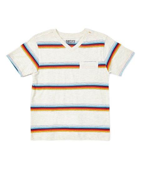 ea23994e9 Smiths American Oatmeal Stripe V-Neck Tee - Boys | Zulily