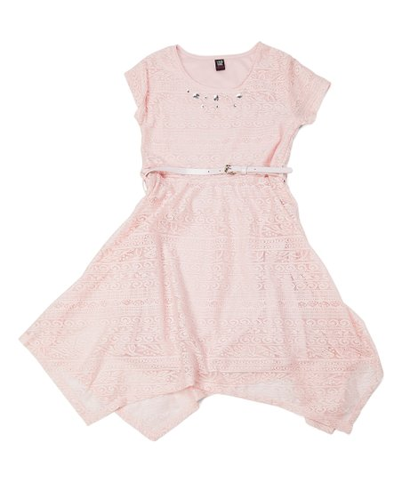 e19a6a1a9 Star Ride Light Pink Lace Handkerchief Dress - Girls | Zulily