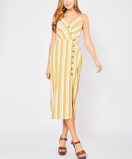 2b577cb4a923 love this product Mustard Stripe Button-Front Surplice Linen-Blend Midi  Dress - Women