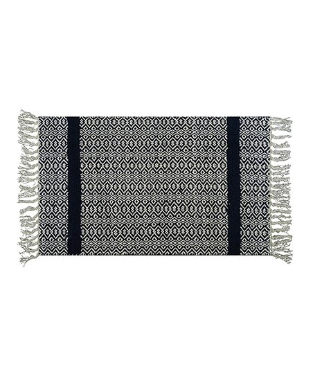 Chicos Home Black White Geometric Fringe Accent Rug Zulily