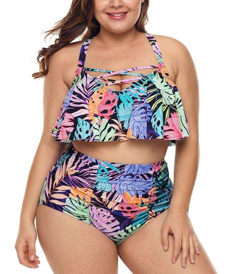 6ac9388ab3 love this product Purple Palm Leaf Crisscross Ruffle Bikini Top & High-Waist  Bottoms - Women