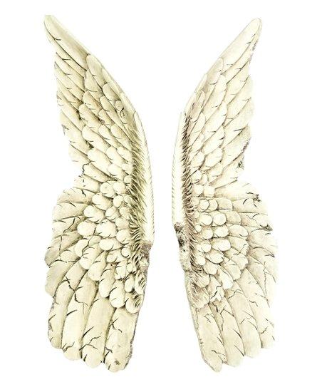 Near Deer White Gold Angel Wings Wall Décor