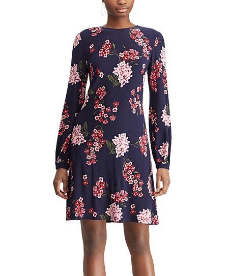 84ba84b0d7 love this product Mediterranean Midnight Floral Long-Sleeve A-Line Dress -  Women