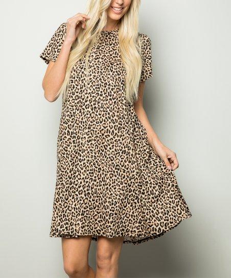 c0ceb46489c3 Celeste Brown Leopard Print T-Shirt Dress - Women   Zulily