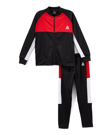 49d78496c702 Reebok Red   Black Track Jacket   Track Pants - Infant   Boys