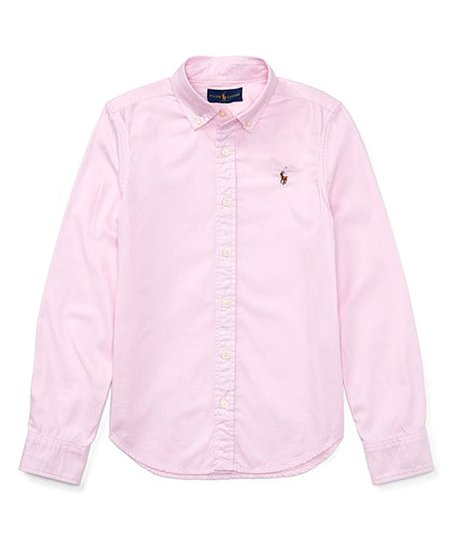 99a0841f54 Polo Ralph Lauren Deco Pink Ruffle Cotton Oxford Button-Up - Girls