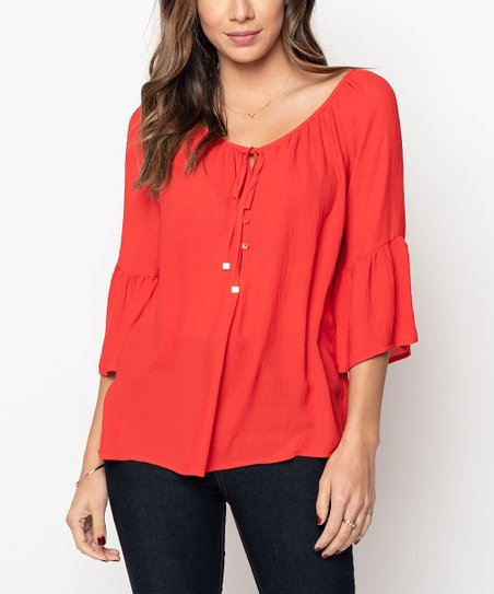 Caralase Red Lace Up Bell Sleeve Top Women Zulily