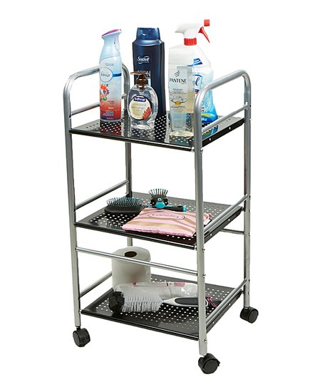 Mind Reader Silver & Black Perforated Three-Tier Metal Cart