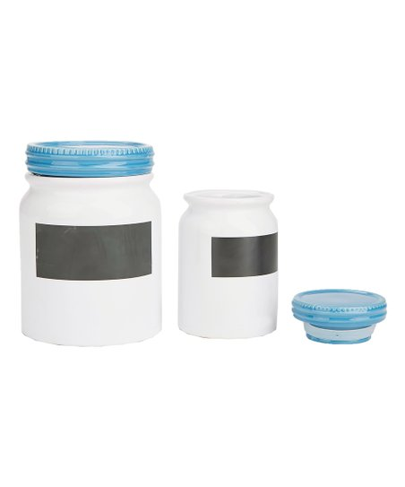 Love This Product White Blue Chalkboard Label Canister Set