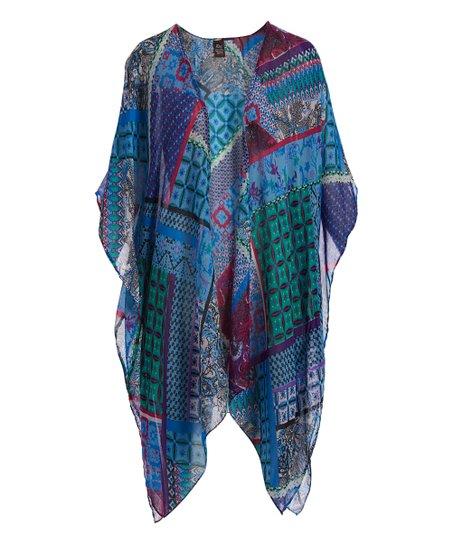 Blue & Magenta Open Kimono   Women by Raj Imports