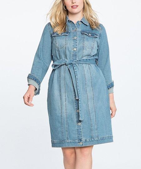 35b3d26eb30 ELOQUII Light Wash Denim Shirt Dress - Plus