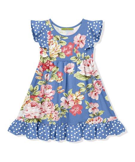 5078de4fc8481 Millie Loves Lily Blue Floral Ruffle-Hem Angel-Sleeve Dress - Toddler &  Girls