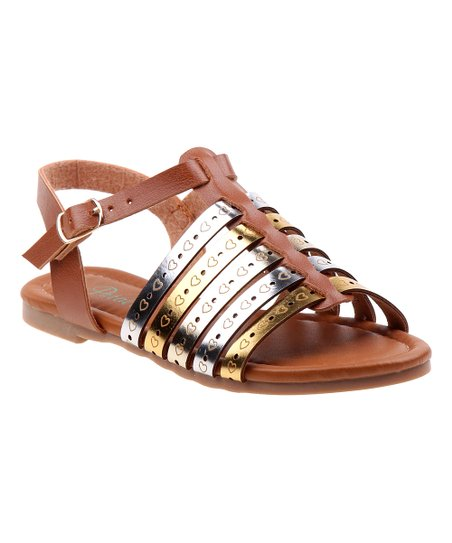 3d63b35ead love this product Tan & Gold Shimmer Heart-Accented Sandal - Girls