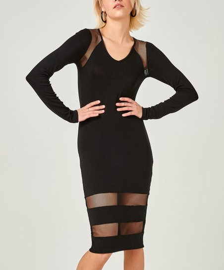 love this product Black Mesh-Panel V-Neck Dress 3e7478b07