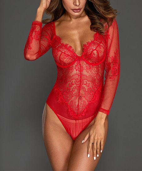 f79b90c73f600 love this product Red Lace Underwire Sheer Long-Sleeve Bodysuit - Women