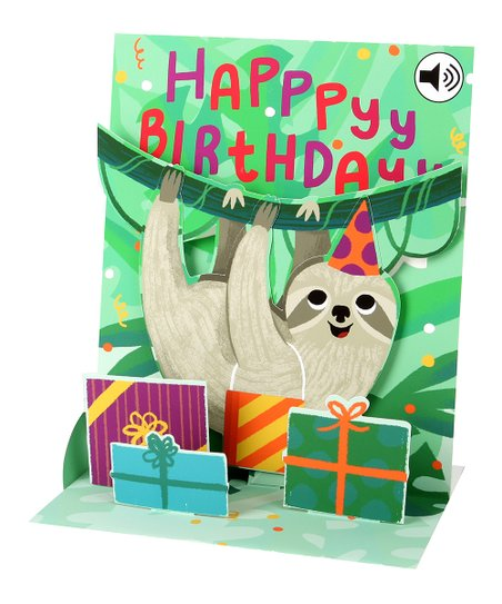 Up With Paper Sloth 'Happy Birthday' Pop-Up Greeting Card With Sound Effects