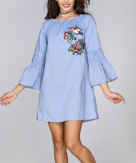 3da1175ef754 love this product Blue Pinstripe Floral-Embroidered Smocked Off-Shoulder  Dress - Women   Plus