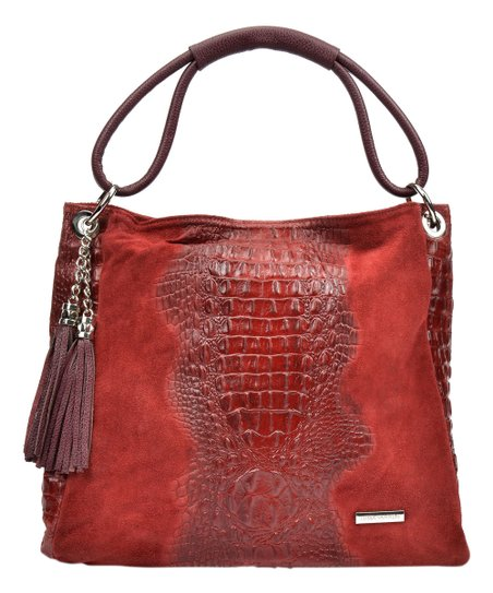 db0015f70f love this product Rosso Tassel Croc-Embossed Accent Leather Hobo
