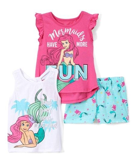 b032b5c3a1 Children's Apparel Network Disney Princess Pink Ariel 'Mermaids Have More  Fun' Shorts Set - Toddler