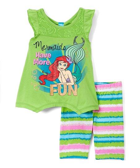 f507252526 Children's Apparel Network Disney Princess Ariel Green Angel-Sleeve Tee &  Bike Shorts - Toddler