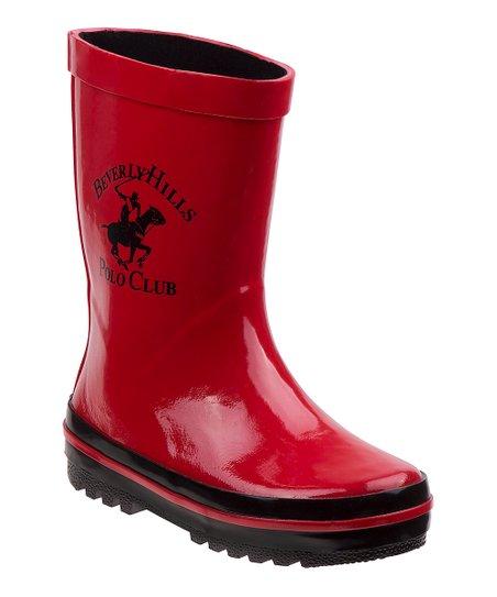 ccd9791b565 Beverly Hills Polo Club Red   Black Logo Rain Boots - Kids