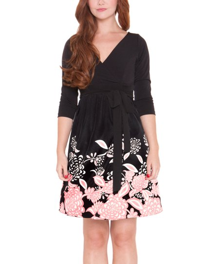Olian Black Pink Floral Silk Maternity Dress Women Zulily