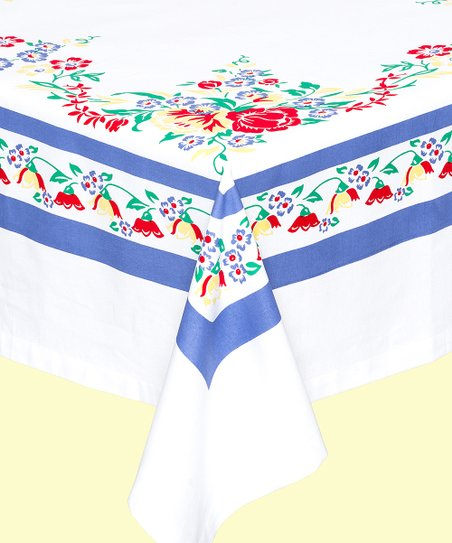 Red And White Kitchen Company White Blue Country Garden Tablecloth