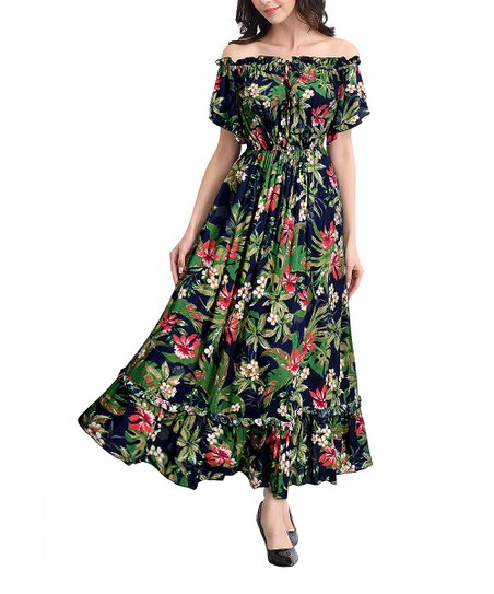 b0e6472f00c2 love this product Navy Blue   Green Floral Off-Shoulder Dress - Women