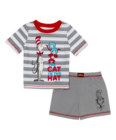 cef06e03 Komar Kids Dr. Seuss Red & Gray Thing 1 & Thing 2 Pajama Set ...