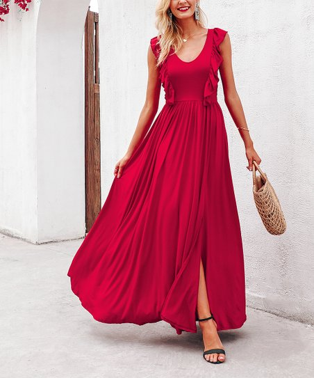 312048aed38 love this product Red Ruffle Maxi Dress - Women