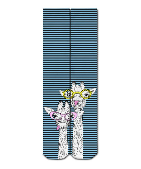 687545d2b Suki Socks Blue Stripe Glasses Giraffe Knee-High Socks