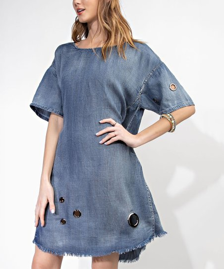 ac84ce84786 love this product Dark Denim Grommet-Accent Shift Dress - Women