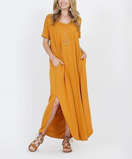love this product Desert Mustard V-Neck Short-Sleeve Split-Hem Pocket Maxi  Dress - Women ad74f673f